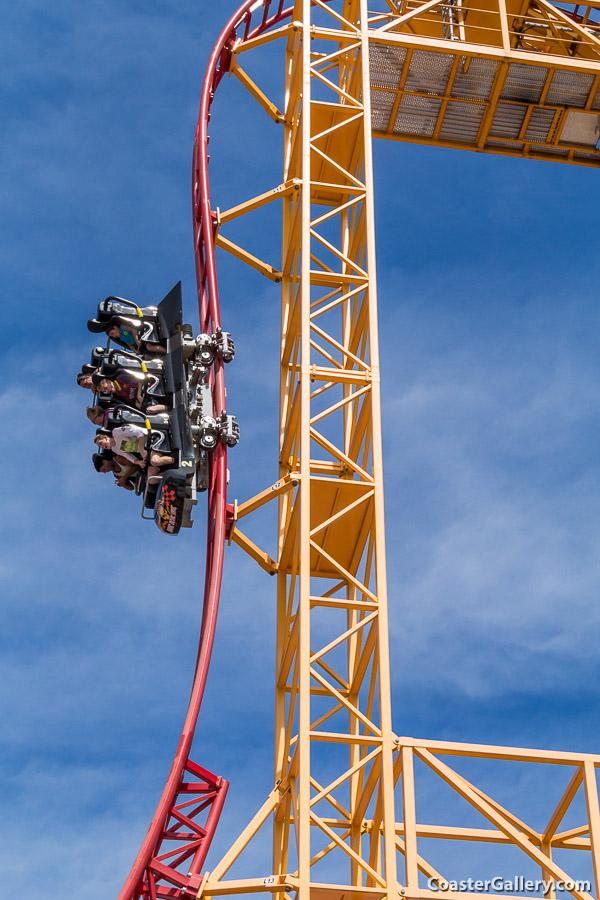Breathtaking vertical drop on a roller coaster