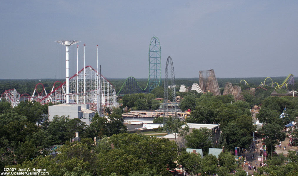 Aerial view of Six Flags Great Adventure's roller coasters